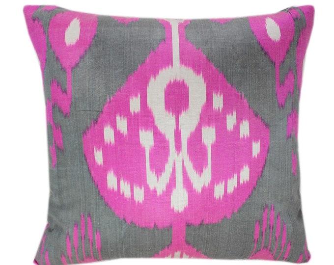 Ikat Cushion, Silk Ikat Pillow, Hand Dyed Ikat Pillow Cover,  IP361, Designer pillows, Decorative pillows, Accent pillows