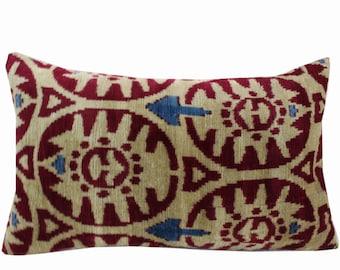 Silk Velvet Ikat Pillow Cover VP213, Bohemian pillow, Velvet Ikat Pillow, Velvet Pillow, Velvet Pillow Cover, Ikat Pillows, Throw Pillows