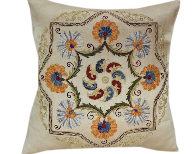 Handmade Suzani Silk Pillow Cover SP85, Suzani Pillow, Uzbek Suzani, Suzani Throw, Suzani, Decorative pillows, Accent pillows