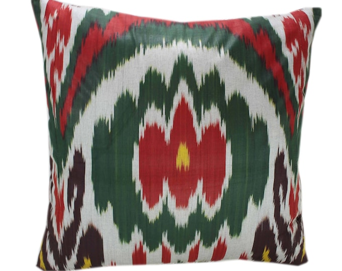 Cotton Ikat Pillow, Hand Dyed Ikat Pillow Cover,  IP236, Ikat throw pillows, Designer pillows, Decorative pillows, Accent pillows