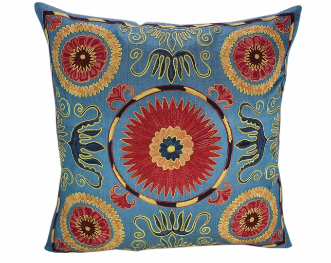Handmade Suzani Pillow Cover SP93, Suzani Pillow, Uzbek Suzani, Suzani Throw, Suzani, Decorative pillows, Accent pillows