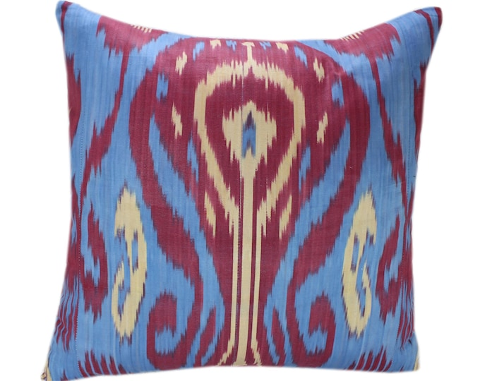 Cotton Ikat Pillow, Hand Dyed Ikat Pillow Cover,  IP242, Ikat throw pillows, Designer pillows, Decorative pillows, Accent pillows