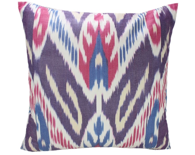 Cotton Ikat Pillow, Hand Dyed Ikat Pillow Cover,  IP239, Ikat throw pillows, Designer pillows, Decorative pillows, Accent pillows