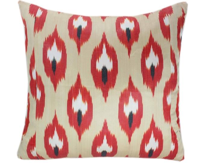 Ikat Cushion, Silk Ikat Pillow, Hand Dyed Ikat Pillow Cover,  IP364, Designer pillows, Decorative pillows, Accent pillows