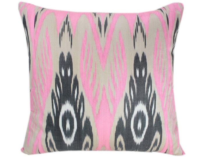 Ikat Cushion, Silk Ikat Pillow, Hand Dyed Ikat Pillow Cover,  IP362, Designer pillows, Decorative pillows, Accent pillows