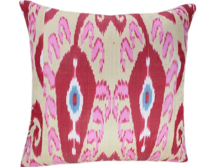 Ikat Cushion, Silk Ikat Pillow, Hand Dyed Ikat Pillow Cover,  IP365, Designer pillows, Decorative pillows, Accent pillows