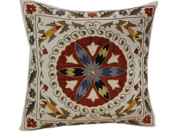 Handmade Suzani Silk Pillow Cover SP83, Suzani Pillow, Uzbek Suzani, Suzani Throw, Suzani, Decorative pillows, Accent pillows