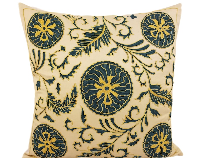 Hand Embroidered Suzani Pillow Cover SP42 (msp798), Suzani Pillow, Suzani Throw, Boho Pillow, Suzani, Decorative pillows, Accent pillows