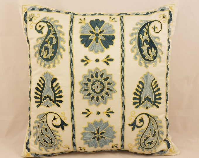 Hand Embroidered Suzani Pillow Cover SP43 (msp795), Suzani Pillow, Suzani Throw, Boho Pillow, Suzani, Decorative pillows, Accent pillows