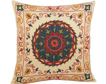Handmade Suzani Silk Pillow Cover SP2 (EMP906), Suzani Pillow, Uzbek Suzani, Suzani Throw, Suzani, Decorative pillows, Accent pillows