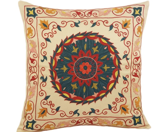 Handmade Suzani Silk Pillow Cover SP2 (EMP906), Suzani Pillow, Uzbek Suzani, Suzani Throw, Suzani, Decorative pillows, Accent pillows
