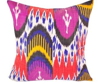 Ikat Pillow, Hand Woven Ikat Pillow Cover IP64 (A518-1AA3), Ikat throw pillows, Designer pillows, Decorative pillows, Accent pillows