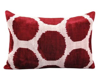 Silk Velvet Ikat Pillow Cover VP5, Bohemian pillow, Velvet Ikat Pillow, Velvet Pillow