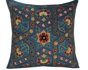 Hand Embroidered Suzani Pillow Cover SP46 (msp794), Suzani Pillow, Suzani Throw, Boho Pillow, Suzani, Decorative pillows, Accent pillows