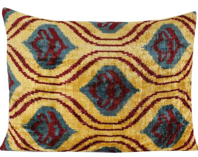 Silk Velvet Ikat Pillow Cover VP63, Bohemian pillow, Velvet Ikat Pillow, Velvet Pillow, Velvet Pillow Cover, Ikat Pillows, Throw Pillows