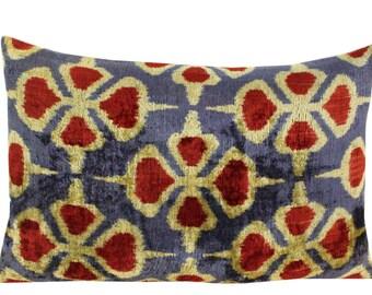 Silk Velvet Ikat Pillow Cover VP65, Bohemian pillow, Velvet Ikat Pillow, Velvet Pillow, Velvet Pillow Cover, Ikat Pillows, Throw Pillows