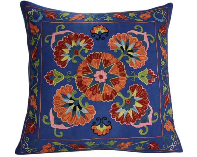 Handmade Suzani Pillow Cover SP14 (emp7-01), Suzani Pillow, Uzbek Suzani, Suzani Throw, Suzani, Decorative pillows, Accent pillows