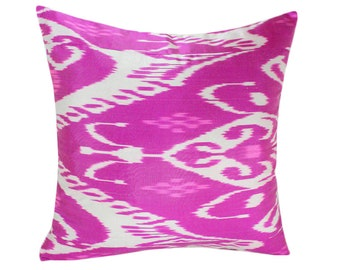 Pink Ikat Pillow, Hand Woven Ikat Pillow Cover, Ikat throw pillows, Pink Ikat Pillow, Designer pillows, Decorative pillows, IP1