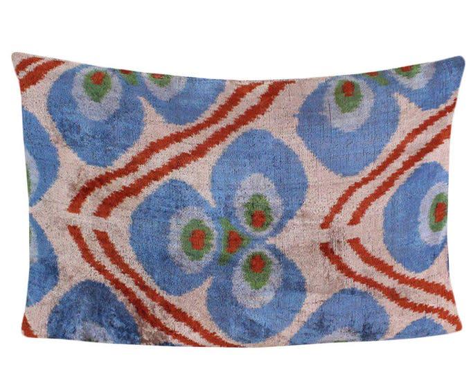 Silk Velvet Ikat Pillow Cover VP6, Bohemian pillow, Velvet Ikat Pillow, Velvet Pillow