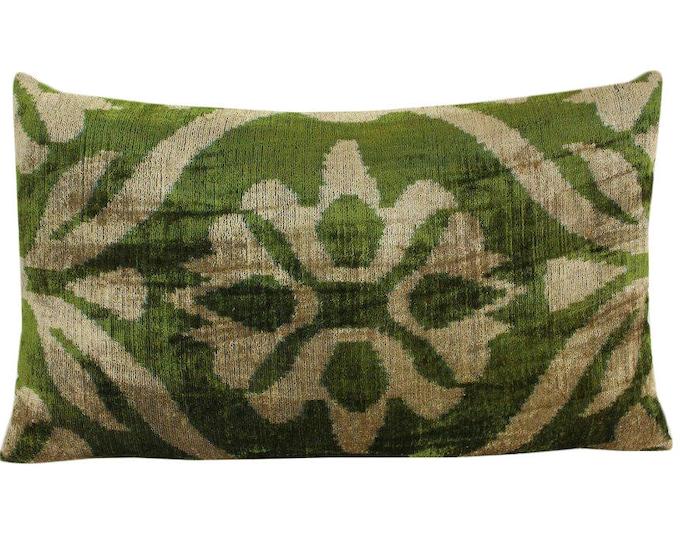 Silk Velvet Ikat Pillow Cover VP225, Bohemian pillow, Velvet Ikat Pillow, Velvet Pillow, Velvet Pillow Cover, Ikat Pillows, Throw Pillows