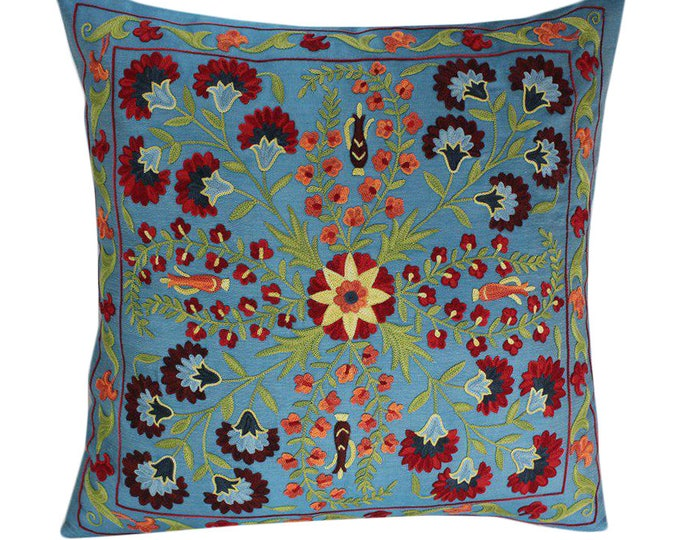 Hand Embroidered Suzani Pillow Cover SP38 (msp797), Suzani Pillow, Suzani Throw, Boho Pillow, Suzani, Decorative pillows, Accent pillows
