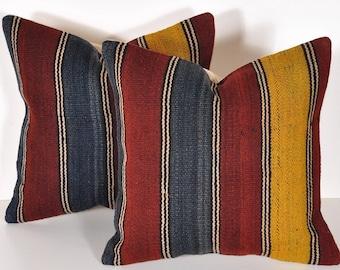 Set of 2 Kilim pillow covers, Kilim Pillow, Bohemian Pillow, Kilim Cushions, Moroccan Pillow, Decorative Pillows, Wool Pillow, KP71