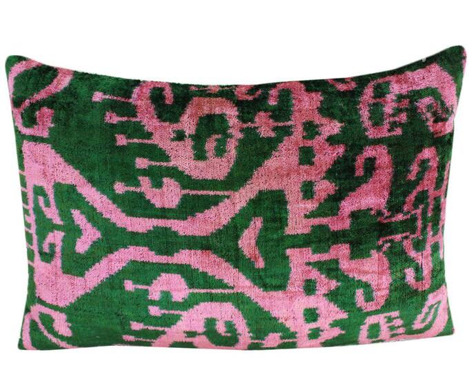 Silk Velvet Ikat Pillow Cover VP111, Bohemian pillow, Velvet Ikat Pillow, Velvet Pillow, Velvet Pillow Cover, Ikat Pillows, Throw Pillows
