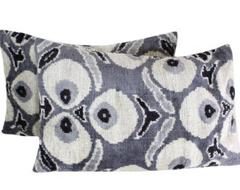 Set of 2 Silk Velvet Ikat Pillow Covers VP59s, Bohemian pillow, Velvet Ikat Pillow, Velvet Pillow, Velvet Pillow Cover, Ikat Pillows