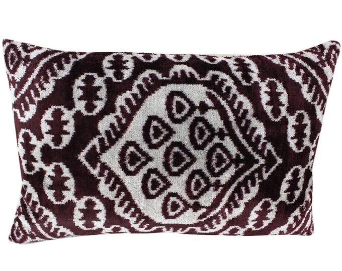 Silk Velvet Ikat Pillow Cover VP108, Bohemian pillow, Velvet Ikat Pillow, Velvet Pillow, Velvet Pillow Cover, Ikat Pillows, Throw Pillows