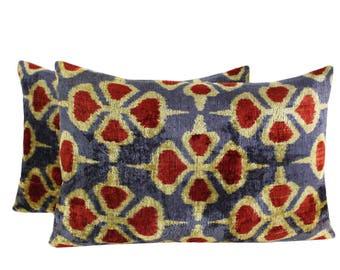 Set of 2 Silk Velvet Ikat Pillow Covers VP65s, Bohemian pillow, Velvet Ikat Pillow, Velvet Pillow, Velvet Pillow Cover, Ikat Pillows