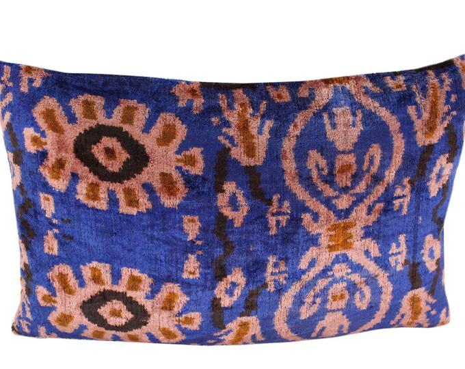 Silk Velvet Ikat Pillow Cover VP106, Bohemian pillow, Velvet Ikat Pillow, Velvet Pillow, Velvet Pillow Cover, Ikat Pillows, Throw Pillows
