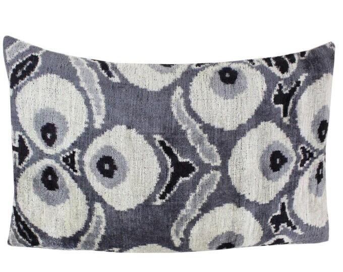 Silk Velvet Ikat Pillow Cover VP59, Bohemian pillow, Velvet Ikat Pillow, Velvet Pillow, Velvet Pillow Cover, Ikat Pillows, Throw Pillows