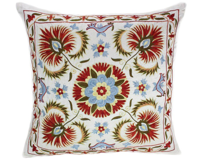 Handmade Suzani Pillow Cover SP95, Suzani Pillow, Uzbek Suzani, Suzani Throw, Suzani, Decorative pillows, Accent pillows