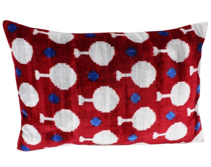 Silk Velvet Ikat Pillow Cover VP101, Bohemian pillow, Velvet Ikat Pillow, Velvet Pillow, Velvet Pillow Cover, Ikat Pillows, Throw Pillows