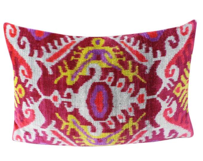 Silk Velvet Ikat Pillow Cover VP220, Bohemian pillow, Velvet Ikat Pillow, Velvet Pillow, Velvet Pillow Cover, Ikat Pillows, Throw Pillows