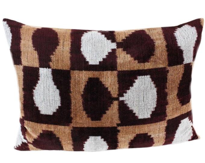 Silk Velvet Ikat Pillow Cover VP103, Bohemian pillow, Velvet Ikat Pillow, Velvet Pillow, Velvet Pillow Cover, Ikat Pillows, Throw Pillows