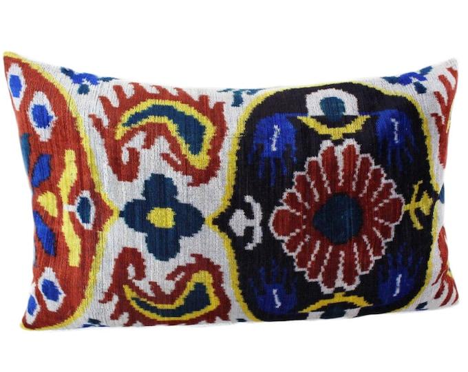 Silk Velvet Ikat Pillow Cover VP105, Bohemian pillow, Velvet Ikat Pillow, Velvet Pillow, Velvet Pillow Cover, Ikat Pillows, Throw Pillows