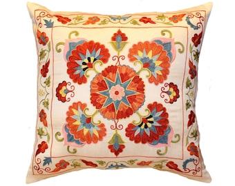 Handmade Suzani Pillow Cover SP24 (msp12-37), Suzani Pillow, Uzbek Suzani, Suzani Throw, Boho Pillow, Suzani, Decorative pillows