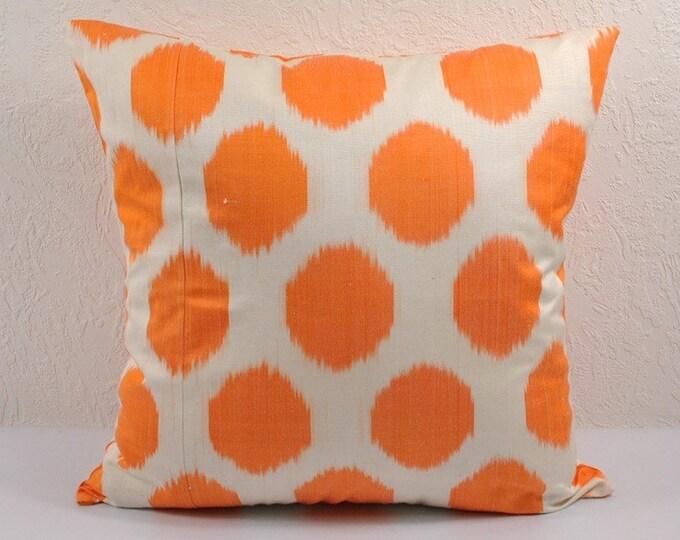 Orange Polka Dot Ikat Pillow Cover,  Ikat Pillow, Ikat throw pillows, Designer pillows, Decorative pillows, Accent pillows, IP39