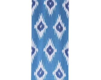 Ikat Fabric, Ikat Fabric by the yard, Blue Ikat Fabric, Table Runner, Ikat, Woven Cotton Fabric, F-A455