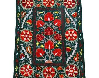 New Handmade Silk Suzani NS20 (ES112), Suzani Tapestry, Suzani Wall Hanging, Suzani Bedspread, Suzani Blanket, Suzani Bedding, Suzani
