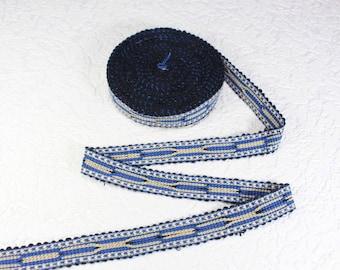 Woven Trim (6 yards), Woven Border, Cotton Ribbon, Grosgrain Ribbon, Dress Border, Ikat Fabric, T488