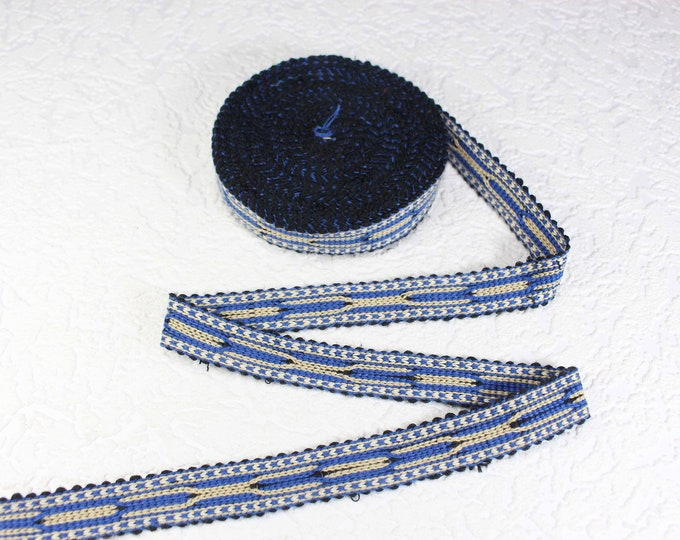 Woven Trim (6 yards), Woven Border, Cotton Ribbon, Grosgrain Ribbon, Dress Border, Ikat Fabric, T488