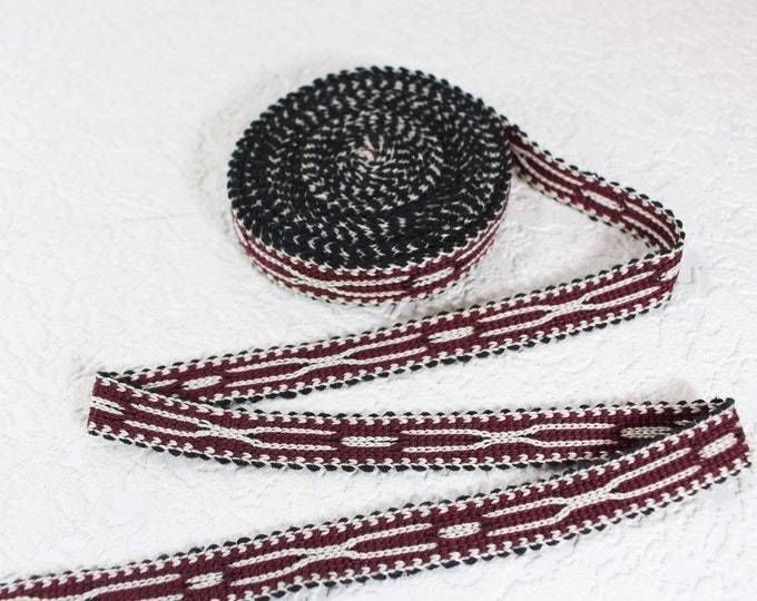 Woven Trim (6 yards), Woven Border, Cotton Ribbon, Grosgrain Ribbon, Dress Border, Border Trim, T441