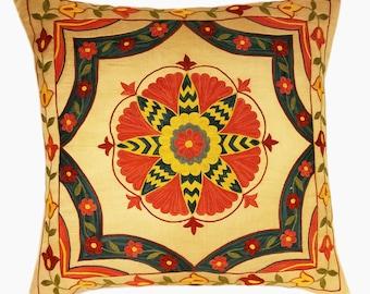 Suzani Pillow, Suzani Silk Pillow Cover SP5 (SP7-18), Uzbek Suzani, Suzani, Decorative pillows, Accent pillows, Designer Pillows