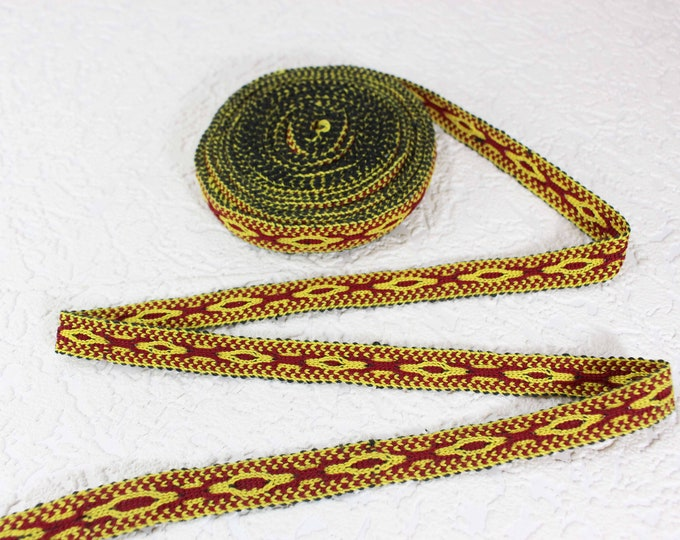 Woven Trim (6 yards), Woven Border, Cotton Ribbon, Grosgrain Ribbon, Dress Border, Border Trim, T439