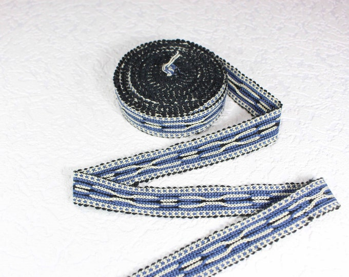Woven Trim (6 yards), Woven Border, Cotton Ribbon, Grosgrain Ribbon, Dress Border, Ikat Fabric, T483
