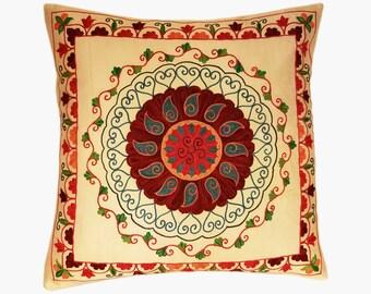 Suzani Pillow, Suzani Silk Pillow Cover SP8 (SP7-12), Uzbek Suzani, Suzani, Decorative pillows, Accent pillows, Designer Pillows