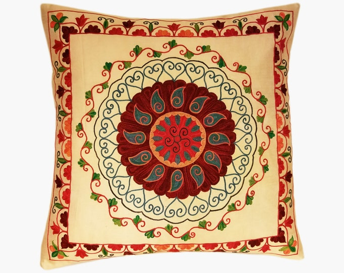 Suzani Pillow, Suzani Silk Pillow Cover SP8 (SP7-12), Uzbek Suzani, Suzani, Decorative pillows, Accent pillows, Designer Pillows