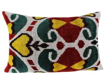 Silk Velvet Ikat Pillow Cover VP11, Bohemian pillow, Velvet Ikat Pillow, Velvet Pillow